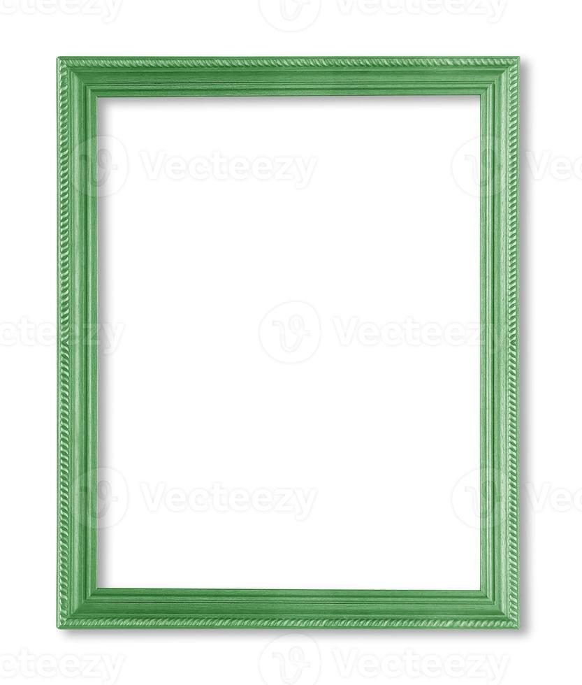 moldura de madeira verde. isolado em fundo branco foto