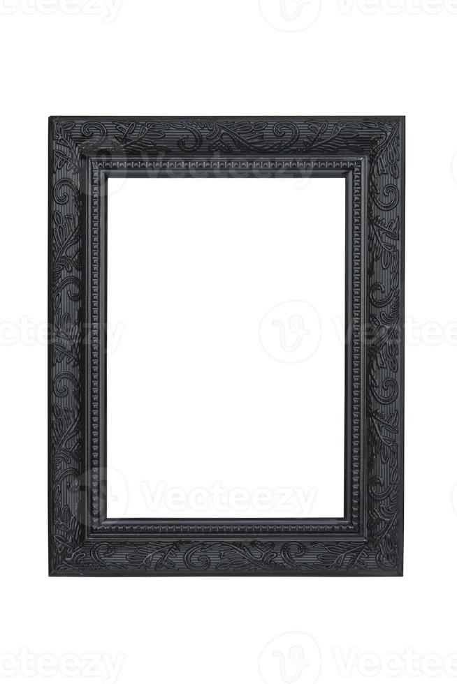 moldura esculpida preta isolada no fundo branco. foto