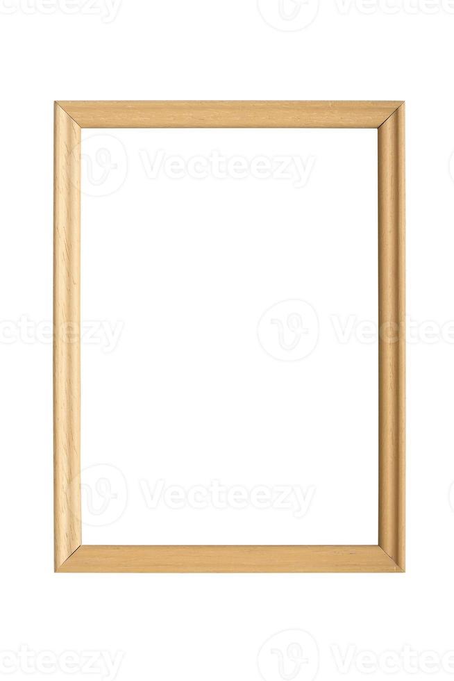 moldura de madeira simples, isolada no branco foto
