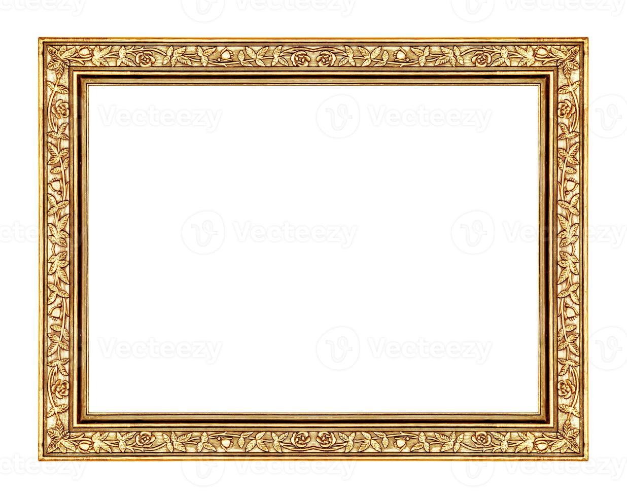 imagem moldura dourada isolada no fundo branco e caminho de recorte foto