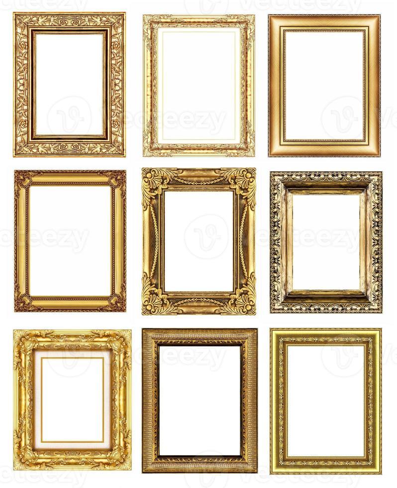conjunto 9 de moldura de ouro vintage isolada no fundo branco. foto