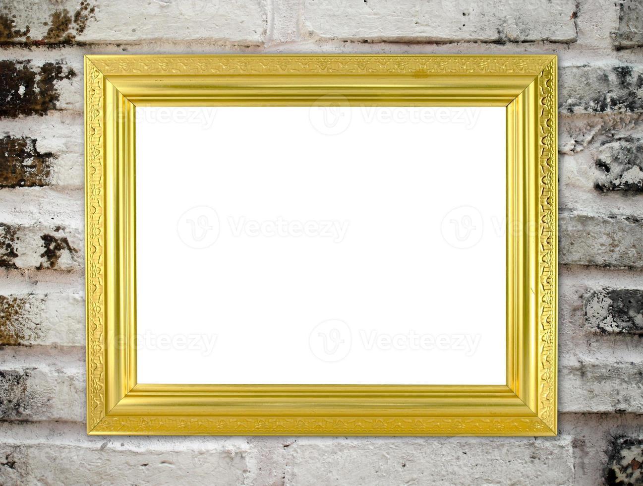 moldura dourada em branco foto