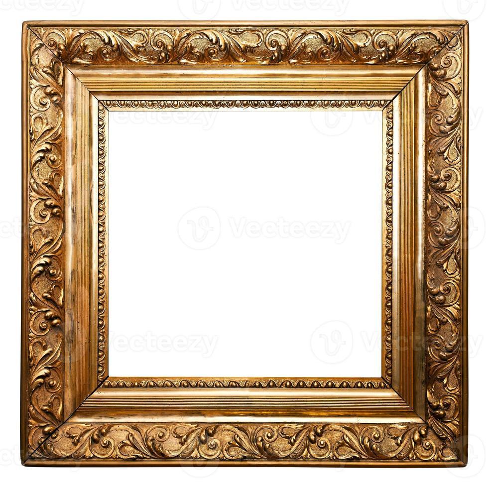 moldura antiga dourada, quadrada, isolada (traçados de recorte incluídos) foto