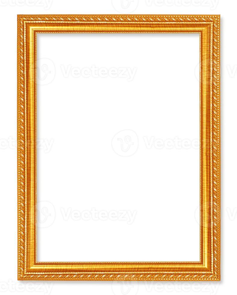 moldura de ouro antiga no fundo branco foto
