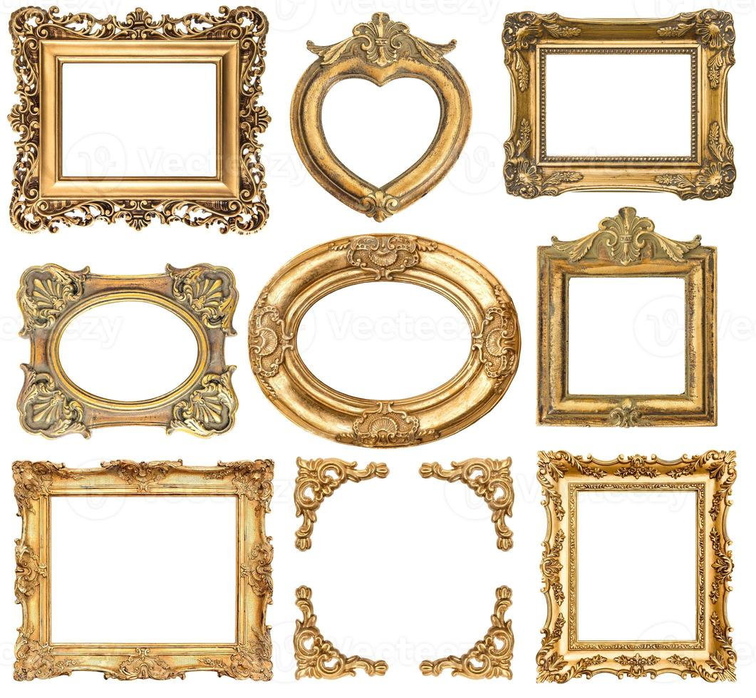 molduras douradas. objetos antigos de estilo barroco foto
