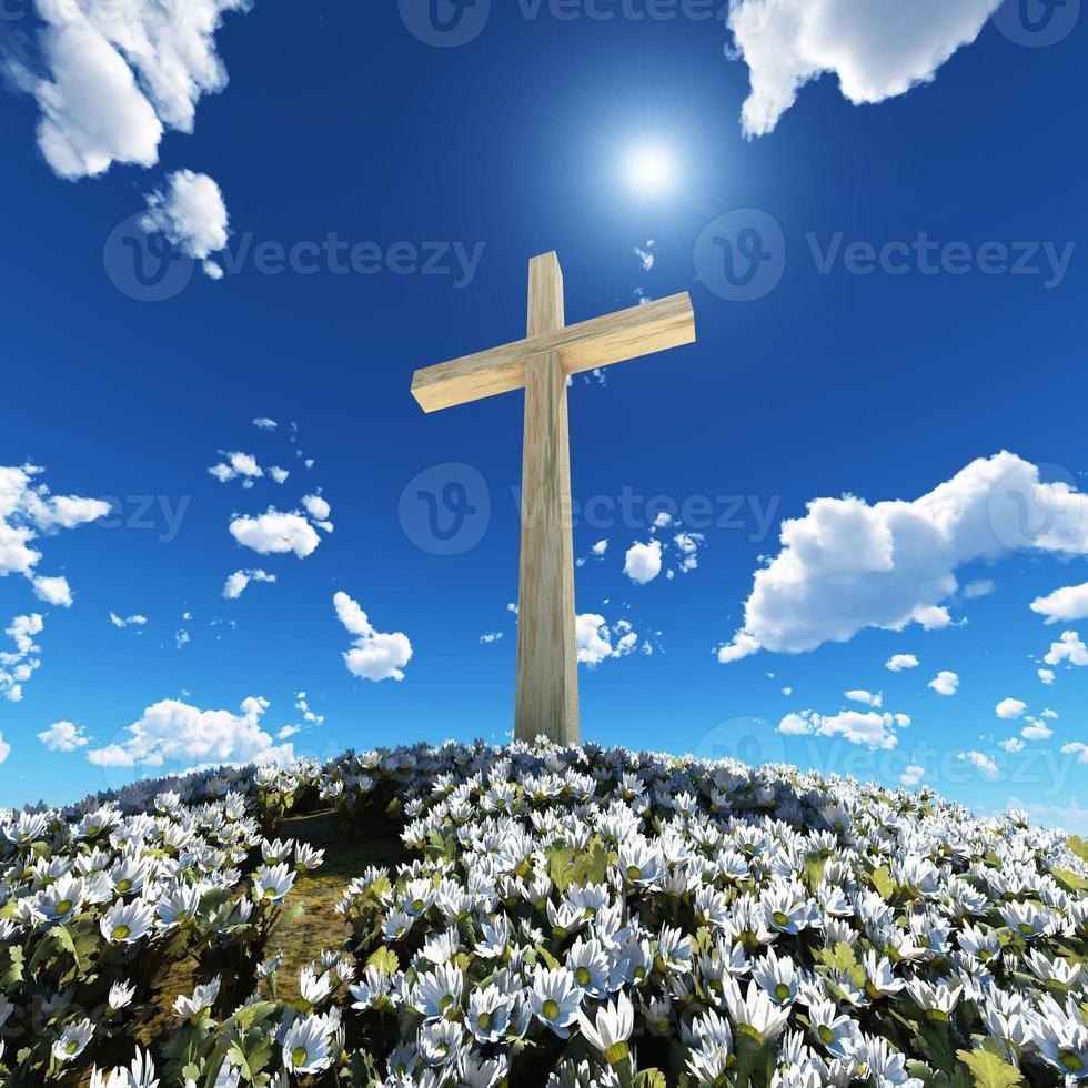 cruz rodeada de flores foto