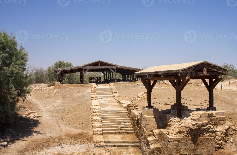 local de batismo, terra sagrada, jordan. foto