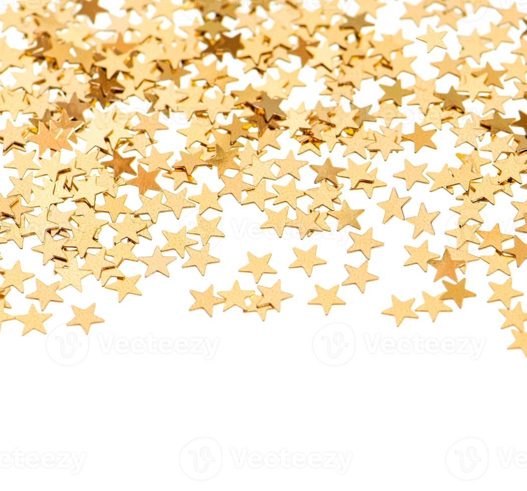 fundo de confete dourado em forma de estrela foto
