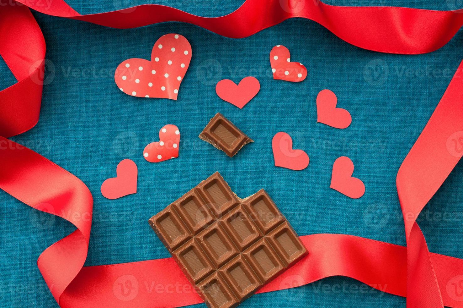chocolate e marca de coração foto