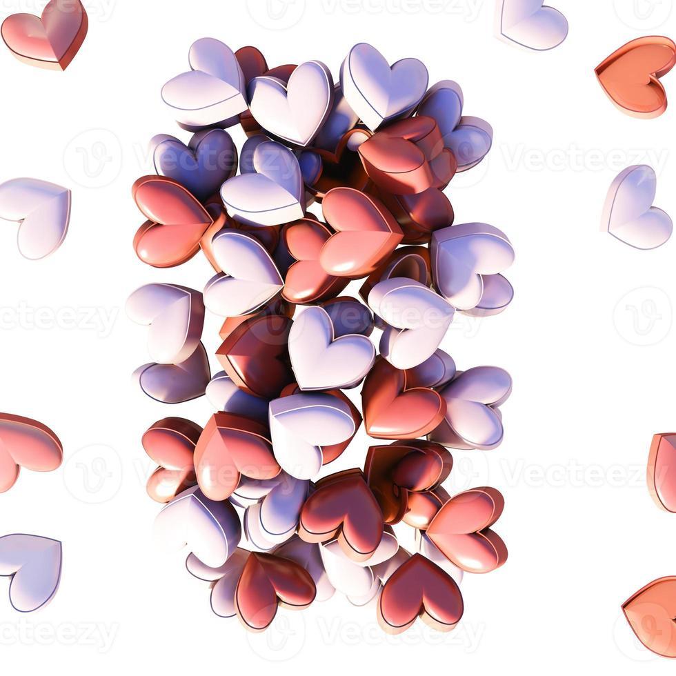 muitos corações vermelhos. Fundo 3D foto