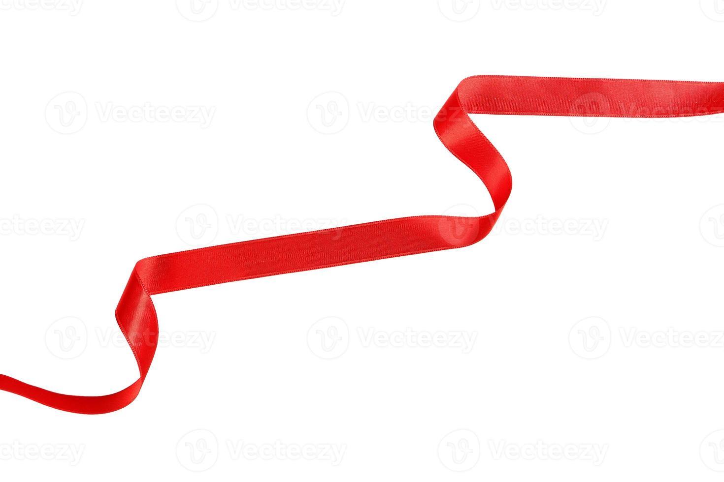 fita vermelha em fundo branco foto