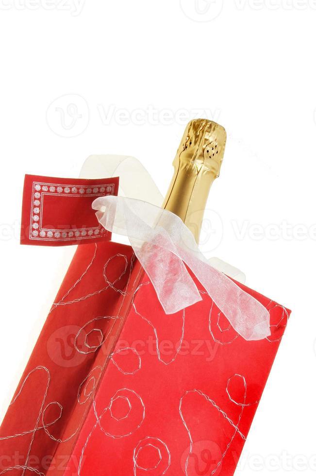 garrafa de champanhe na bolsa foto