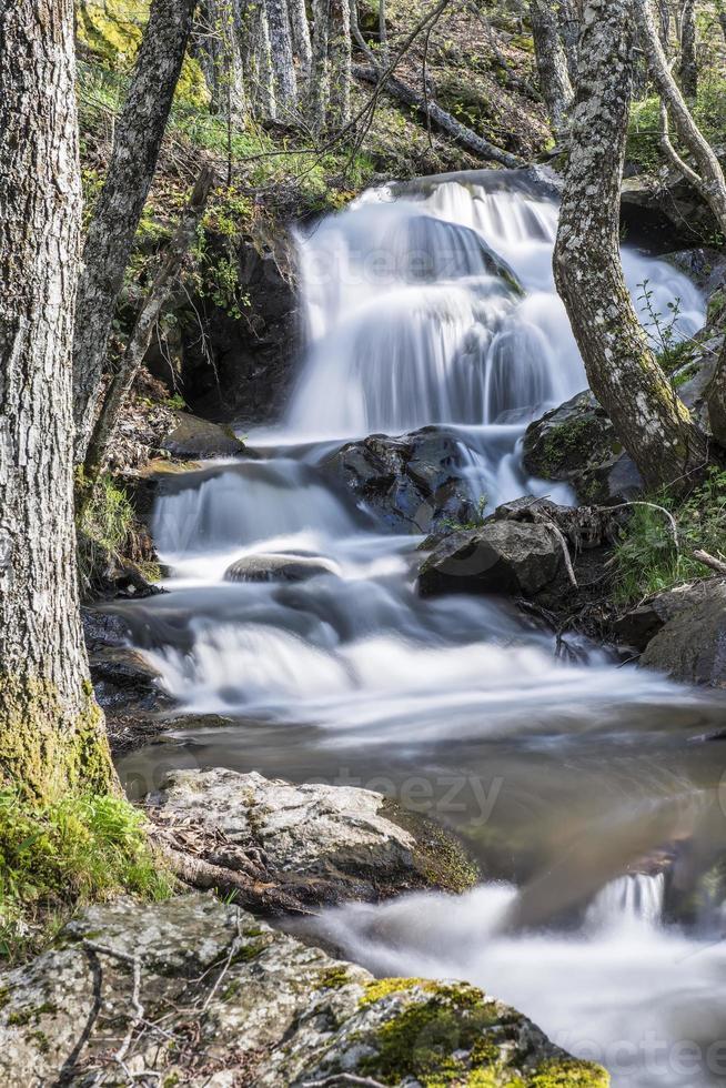 paisagem com rio de montanha e cachoeiras foto