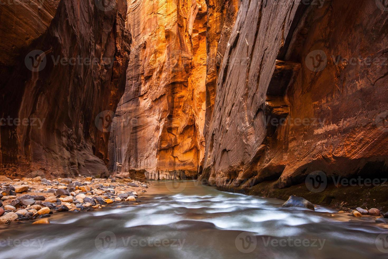 parede de arenito brilhante, estreitos, parque nacional de zion, utah foto