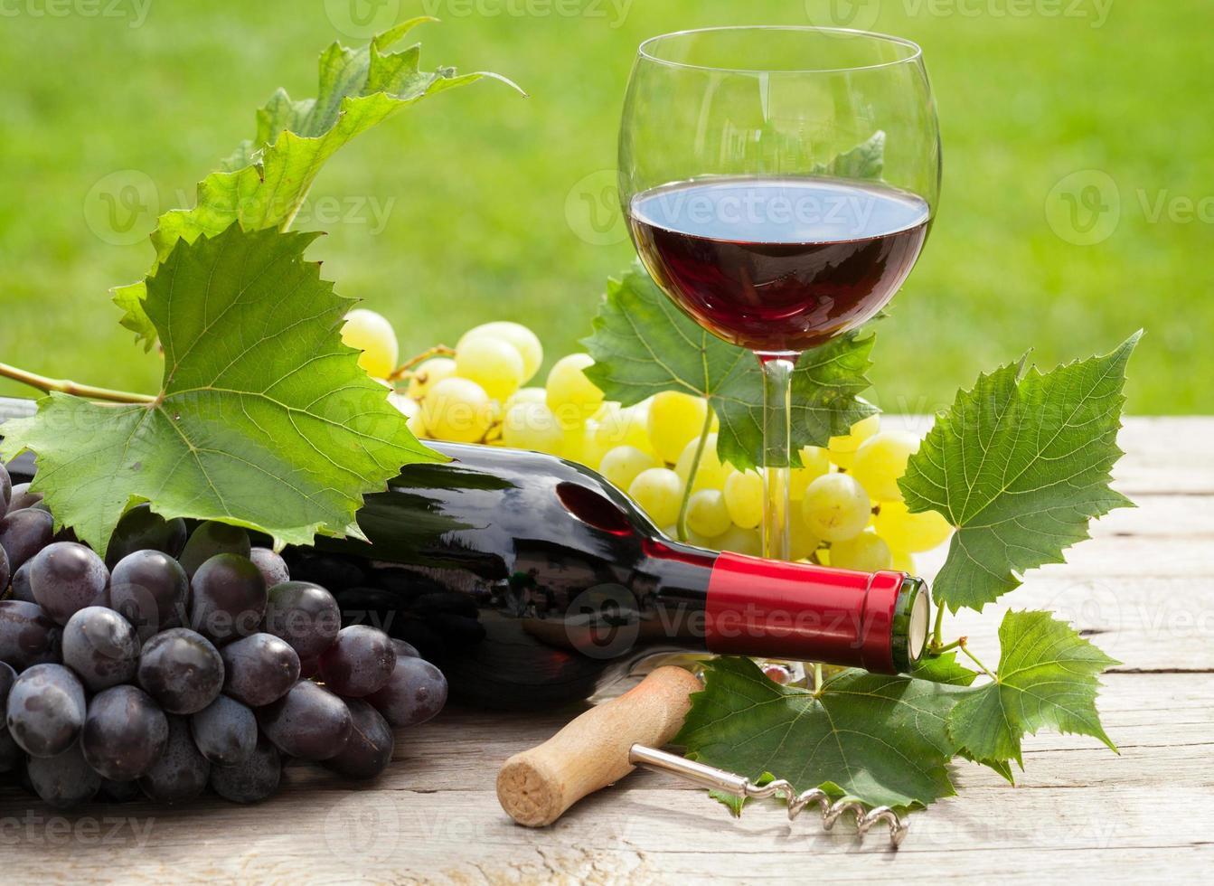 copo de vinho tinto e garrafa com cacho de uvas foto