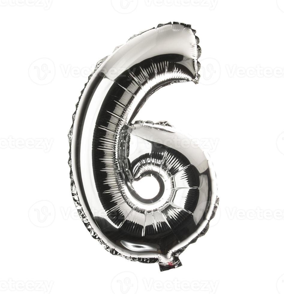parte da fonte do balão cromado do conjunto completo de números, 6 foto