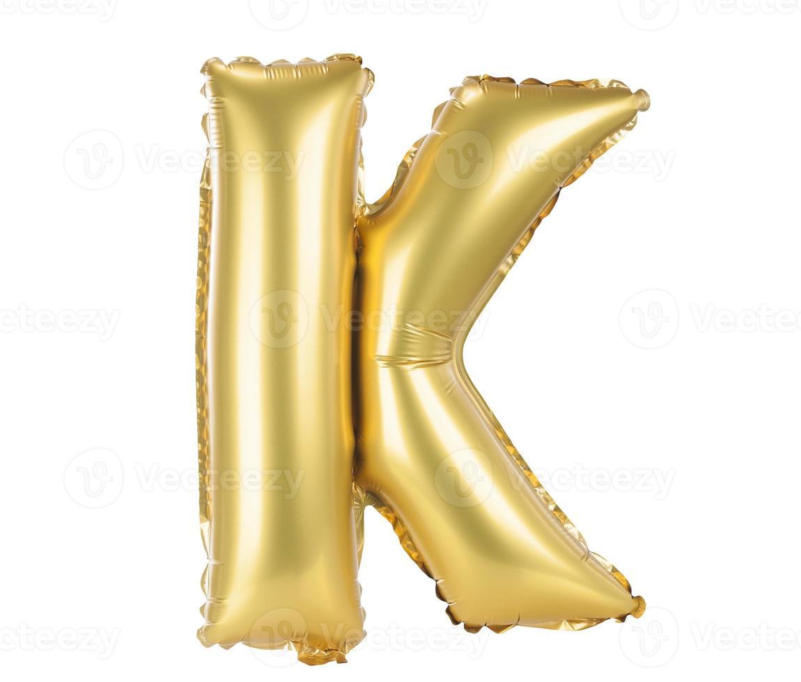 letras maiúsculas de fonte balão de ouro, k foto