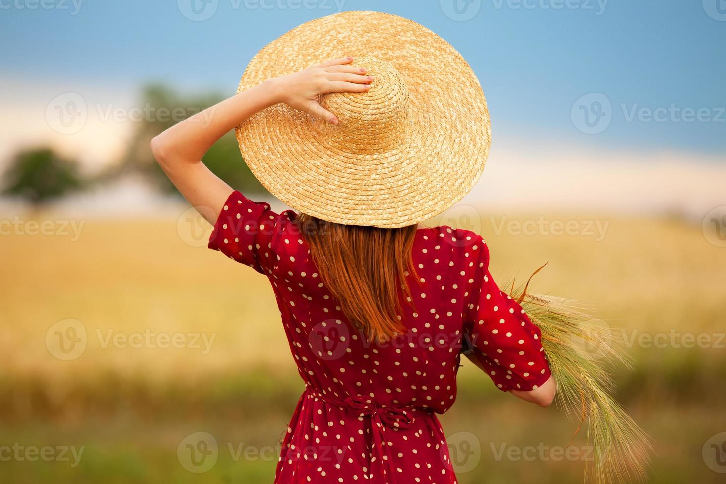 garota ruiva de vestido vermelho em campo de trigo foto