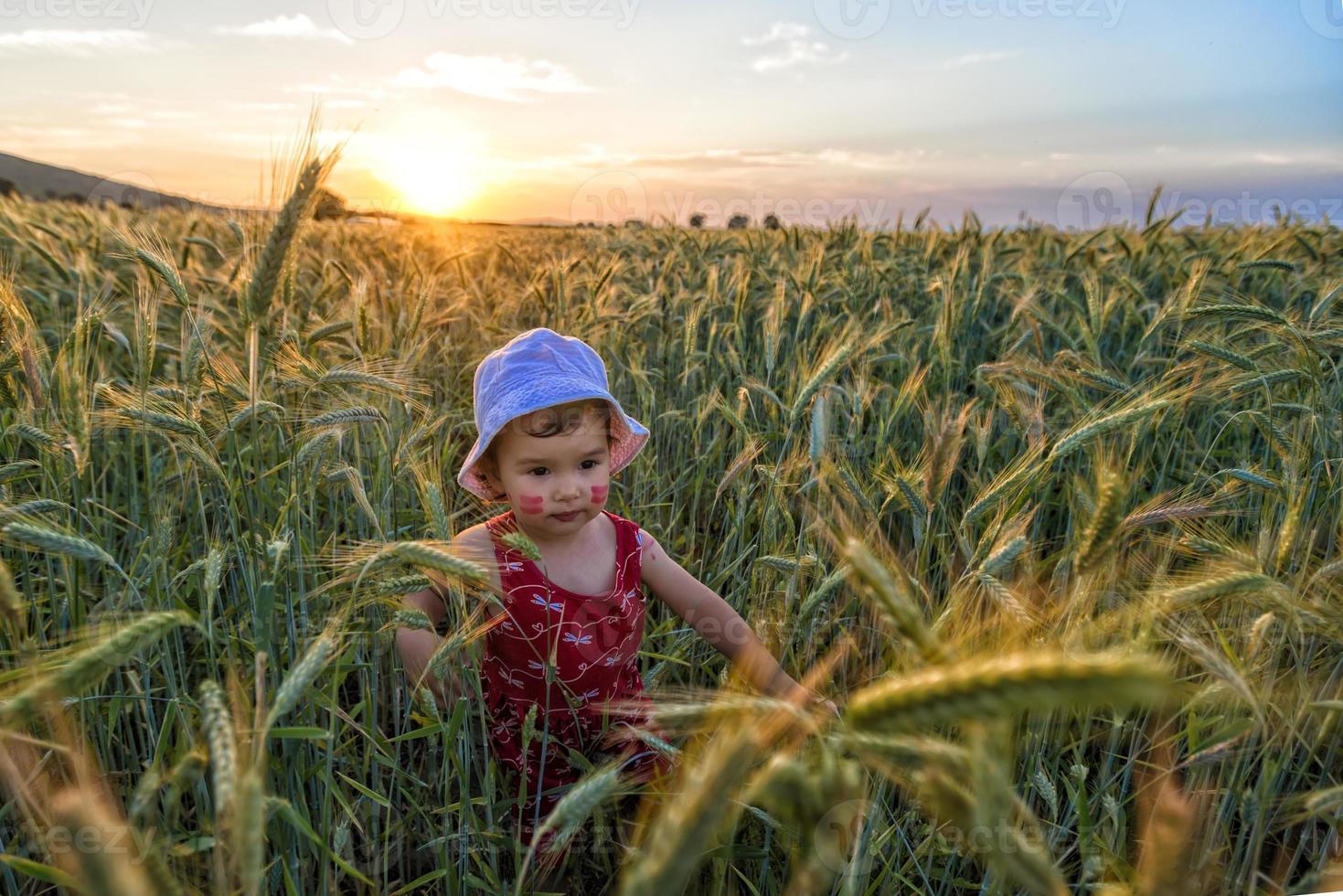 retrato de uma menina brincando em um campo de trigo foto