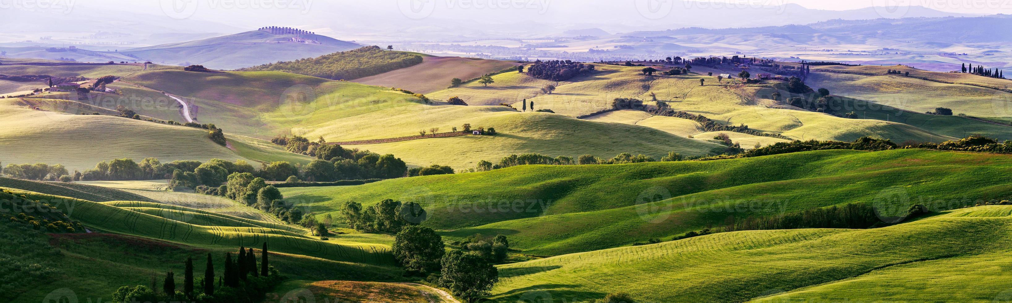 belas e milagrosas cores de verde primavera panorama landsca foto