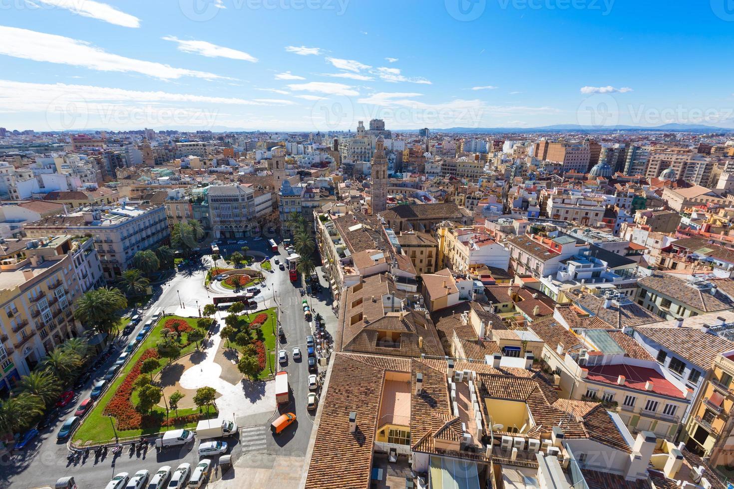horizonte aéreo de valência com plaza de la reina espanha foto