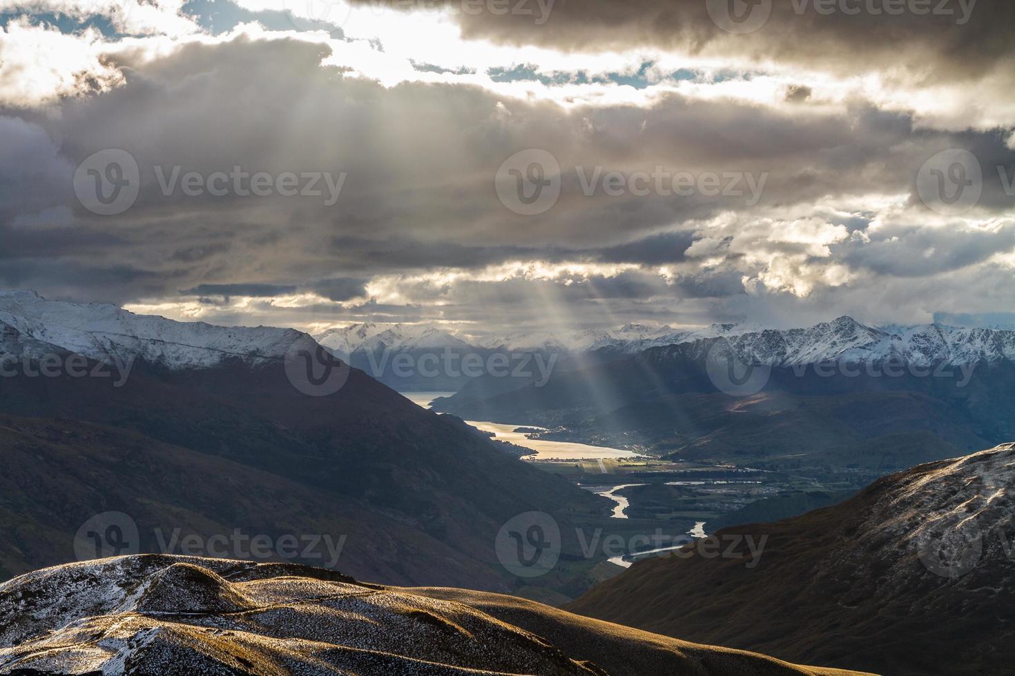 vista do pico da rocha, nova zelândia foto