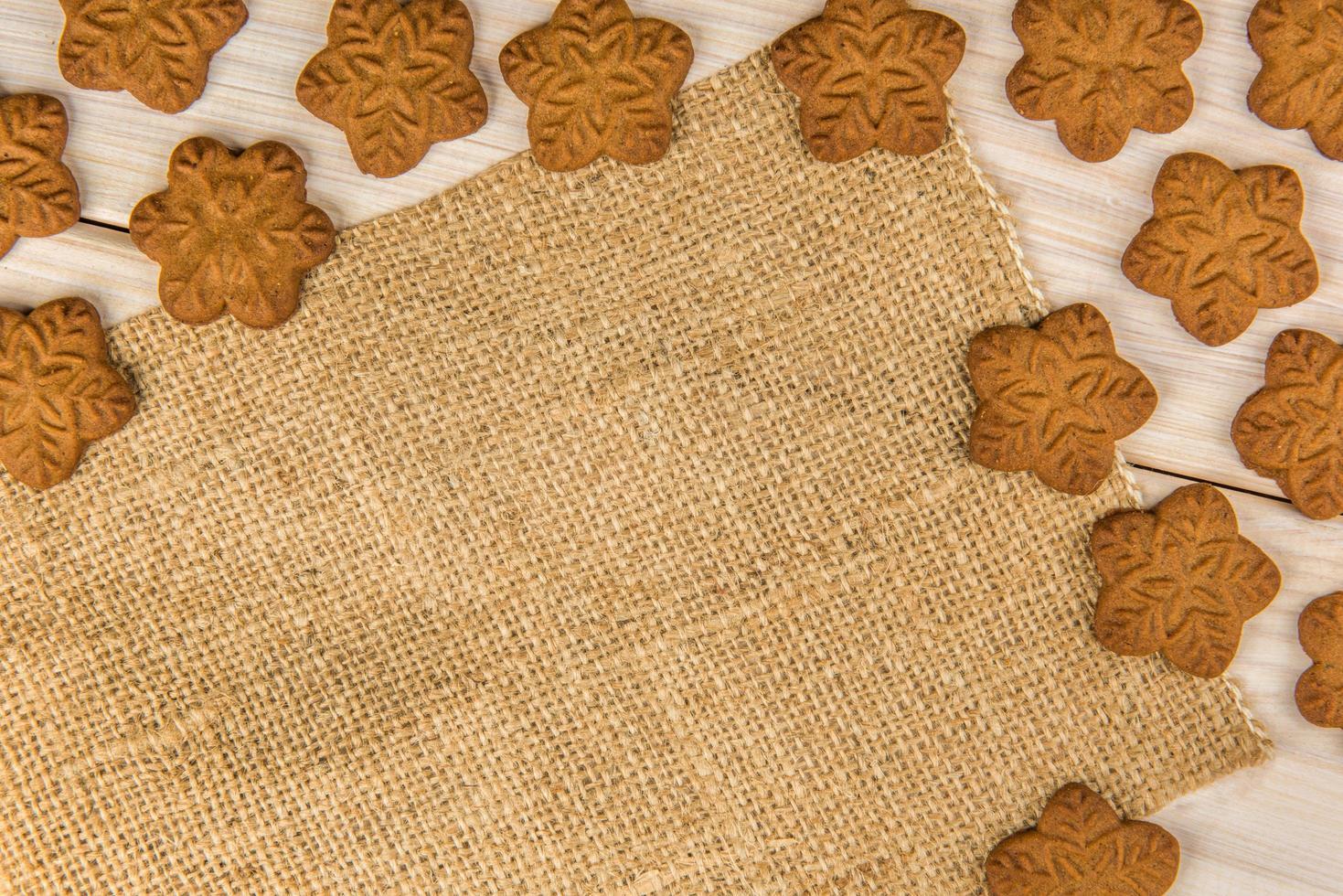 biscoitos de floco de neve com tecido foto
