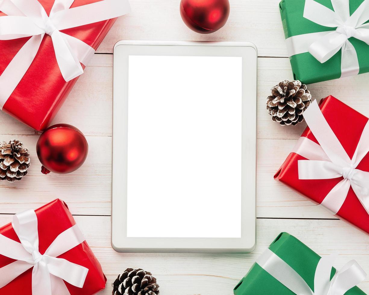 maquete de computador tablet feliz natal foto