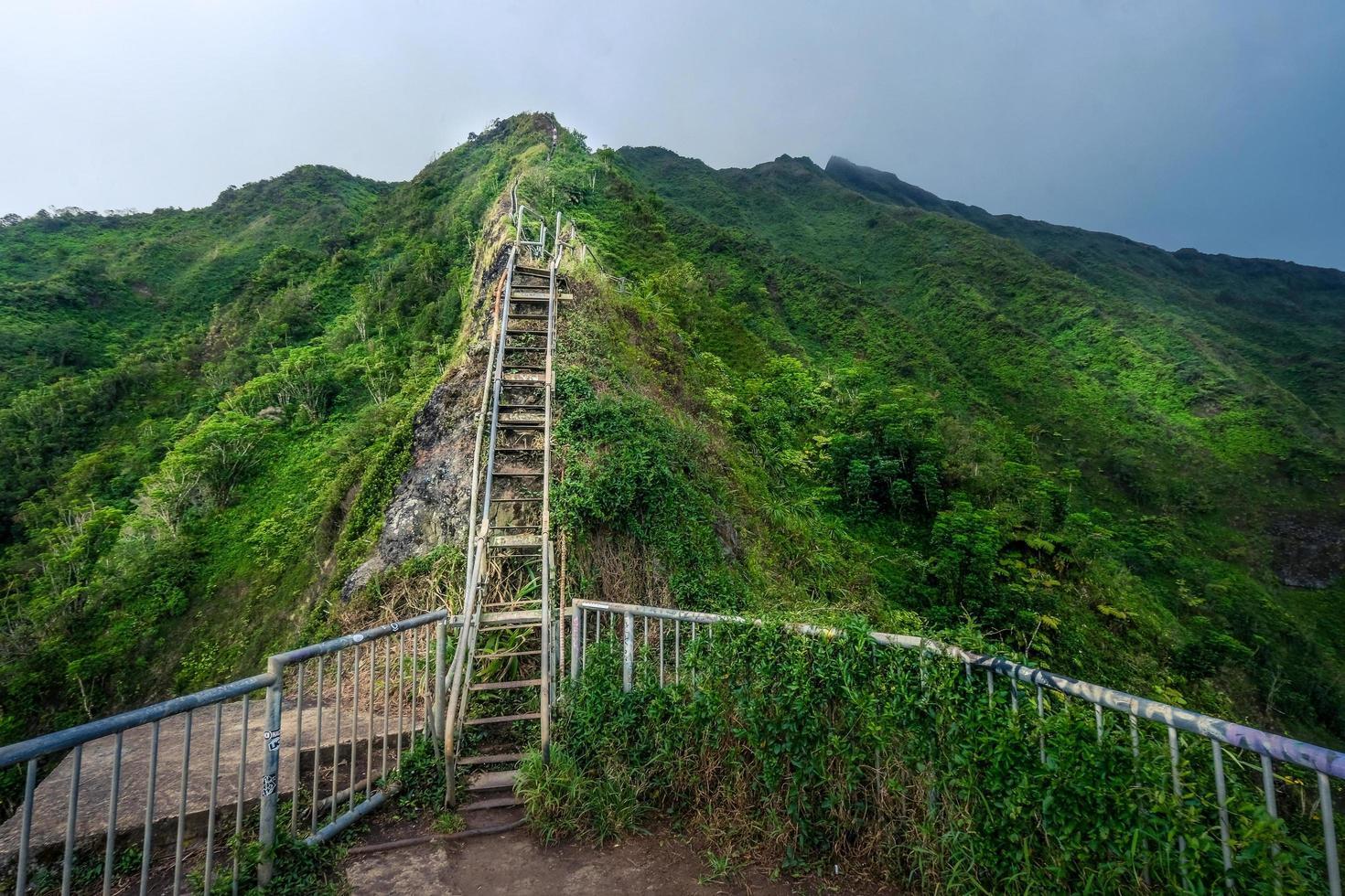 longa escada de madeira indo para o pico da montanha foto