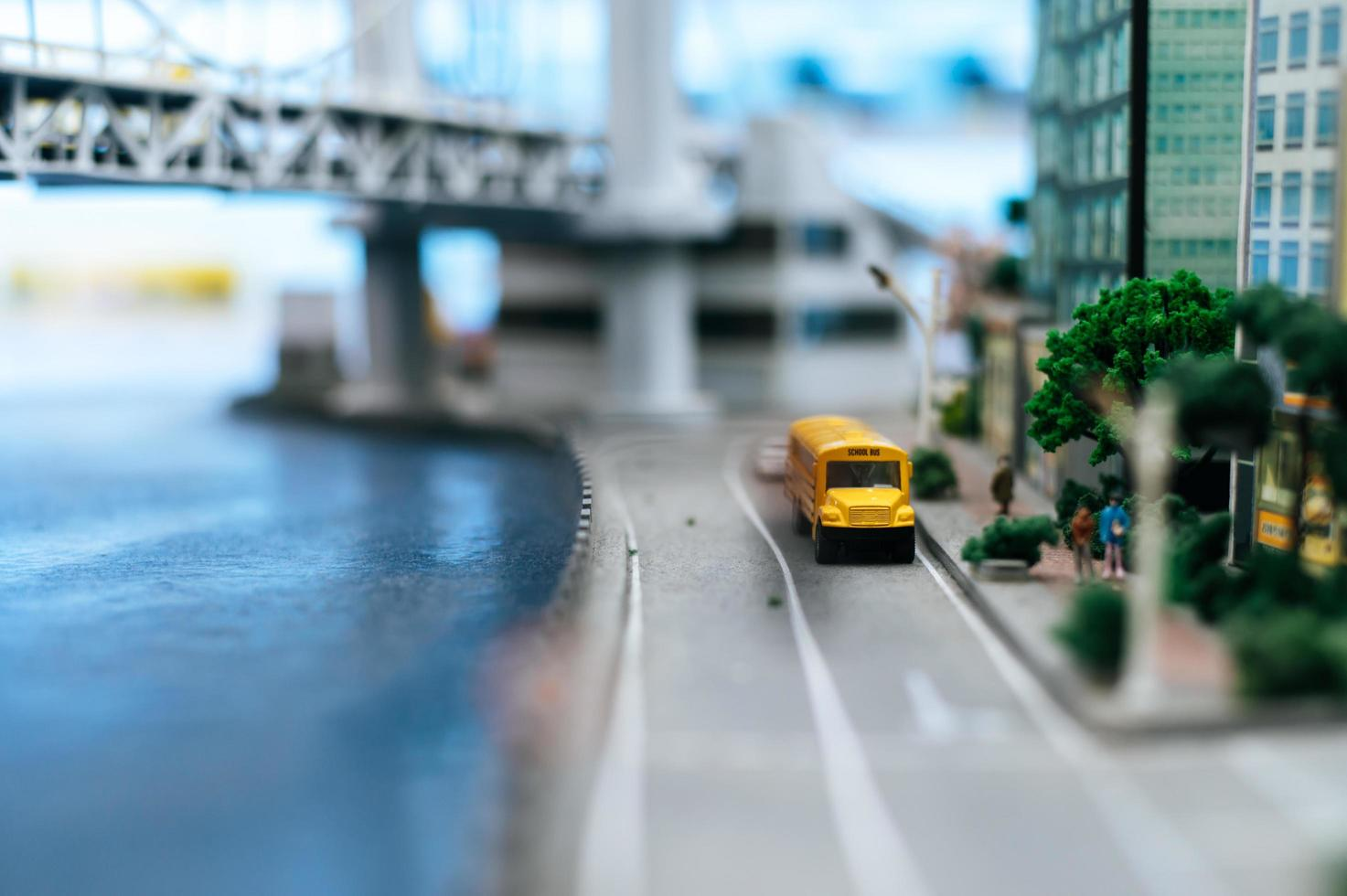 paisagem de cidade com mudança de inclinação em miniatura foto