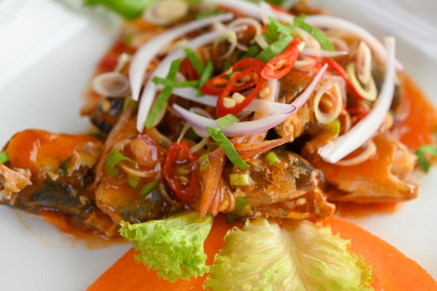 close-up de salada picante foto