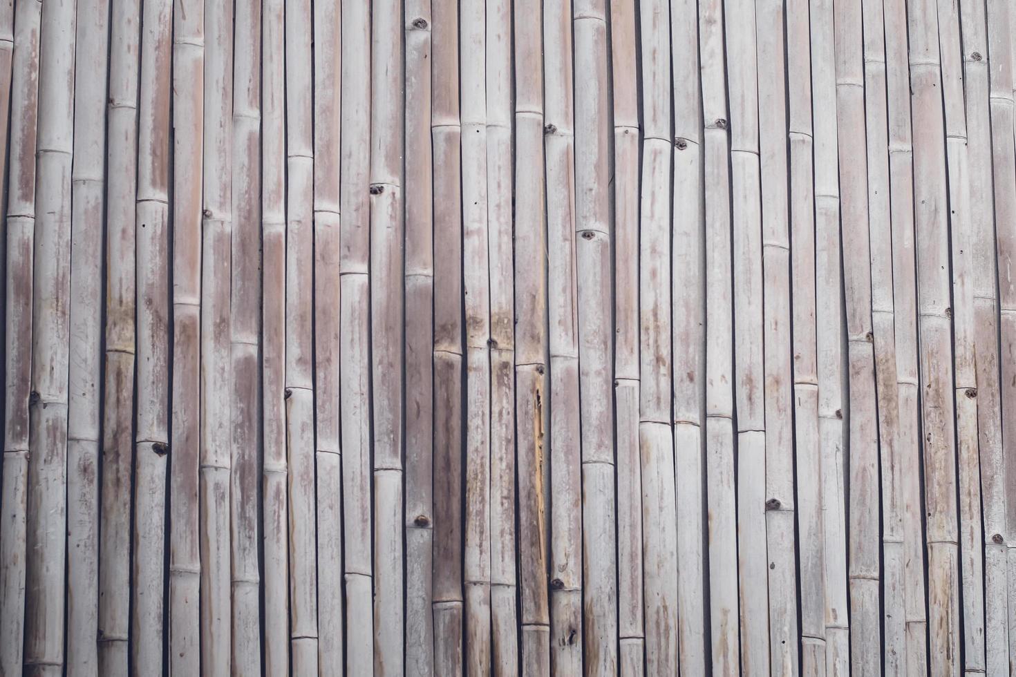 textura de cerca de prancha de bambu de tom marrom velho para segundo plano. Feche acima da velha madeira decorativa de bambu do fundo da cerca foto