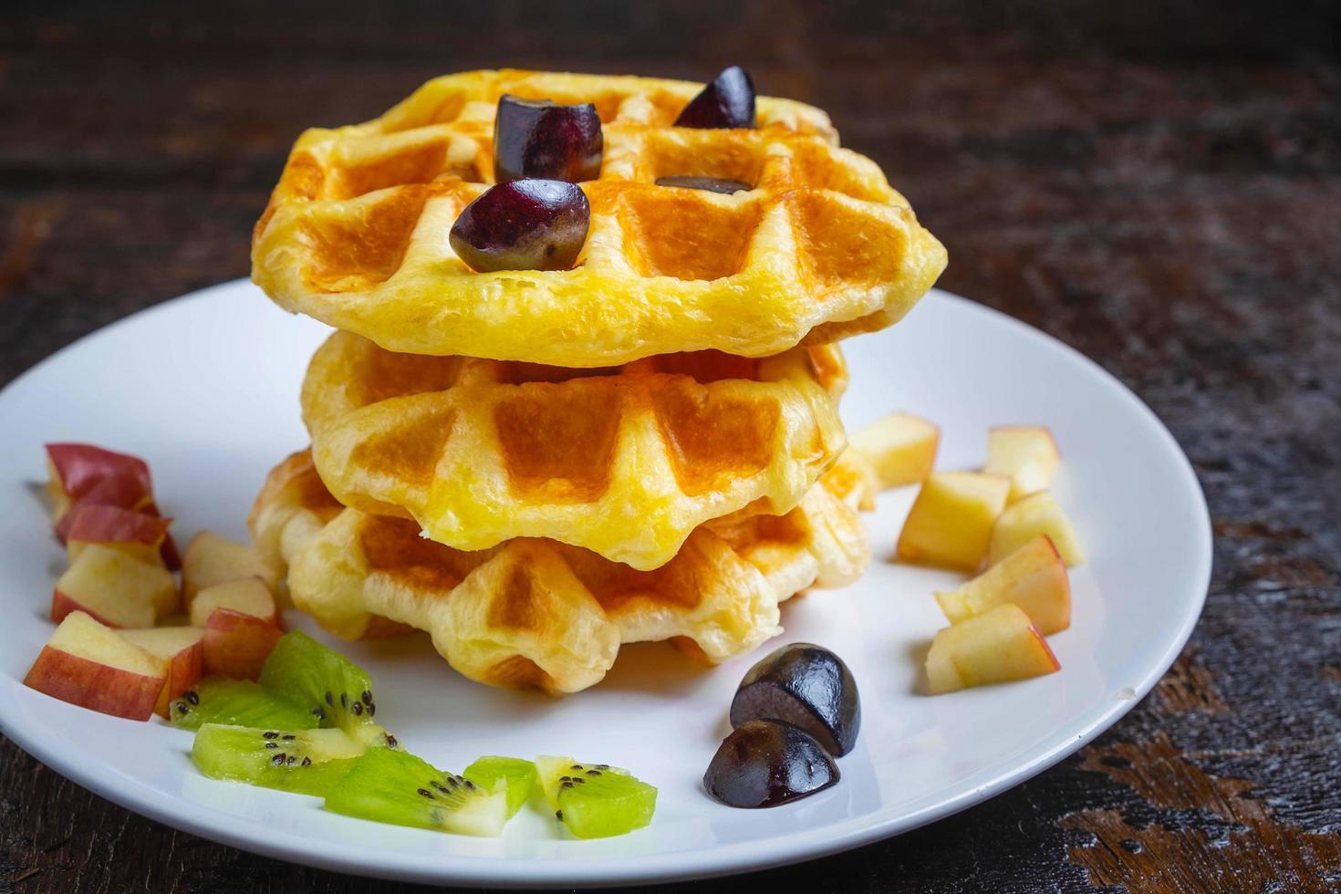 waffles e mirtilos foto