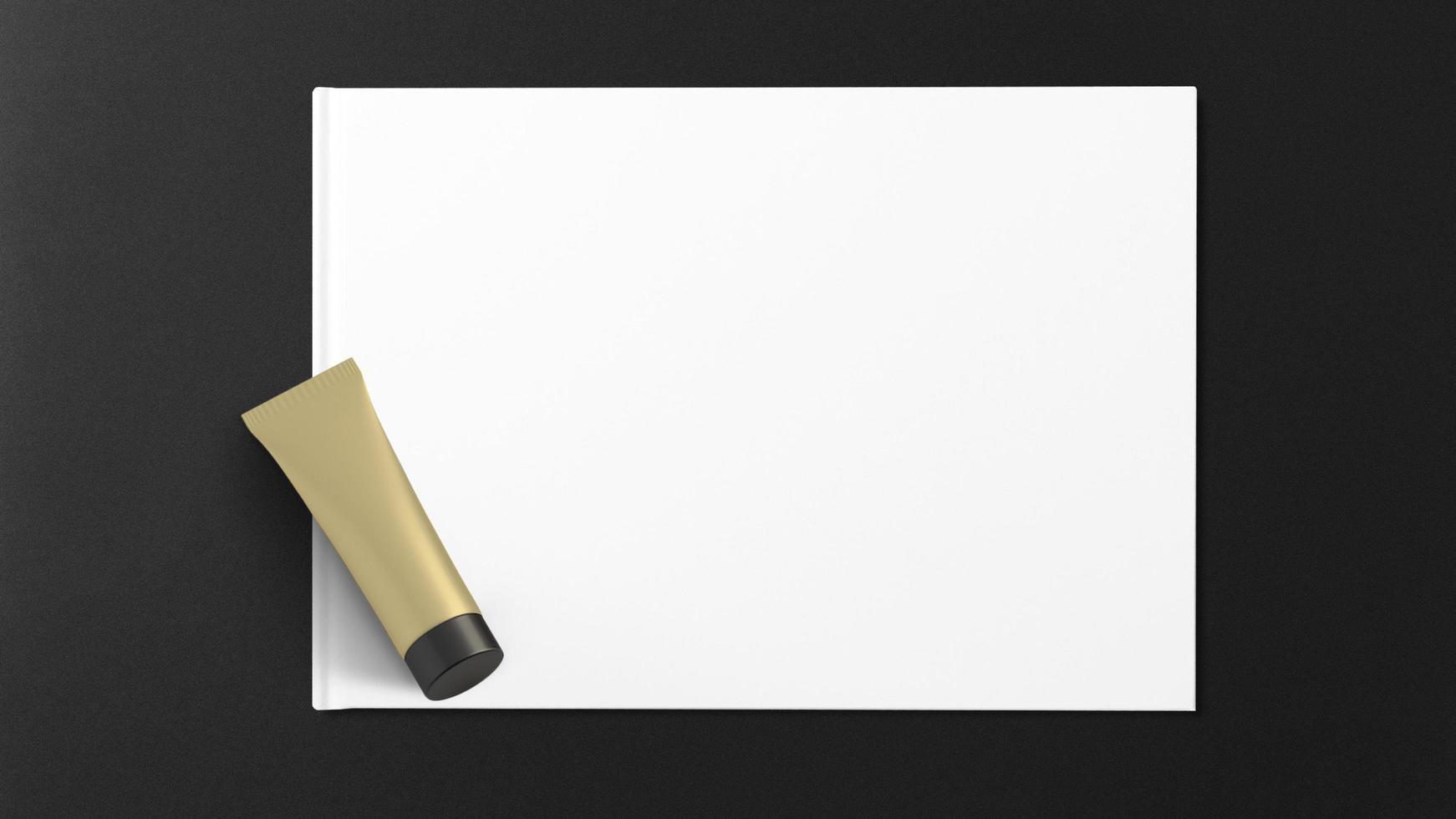 frasco cosmético em papel branco e fundo preto foto