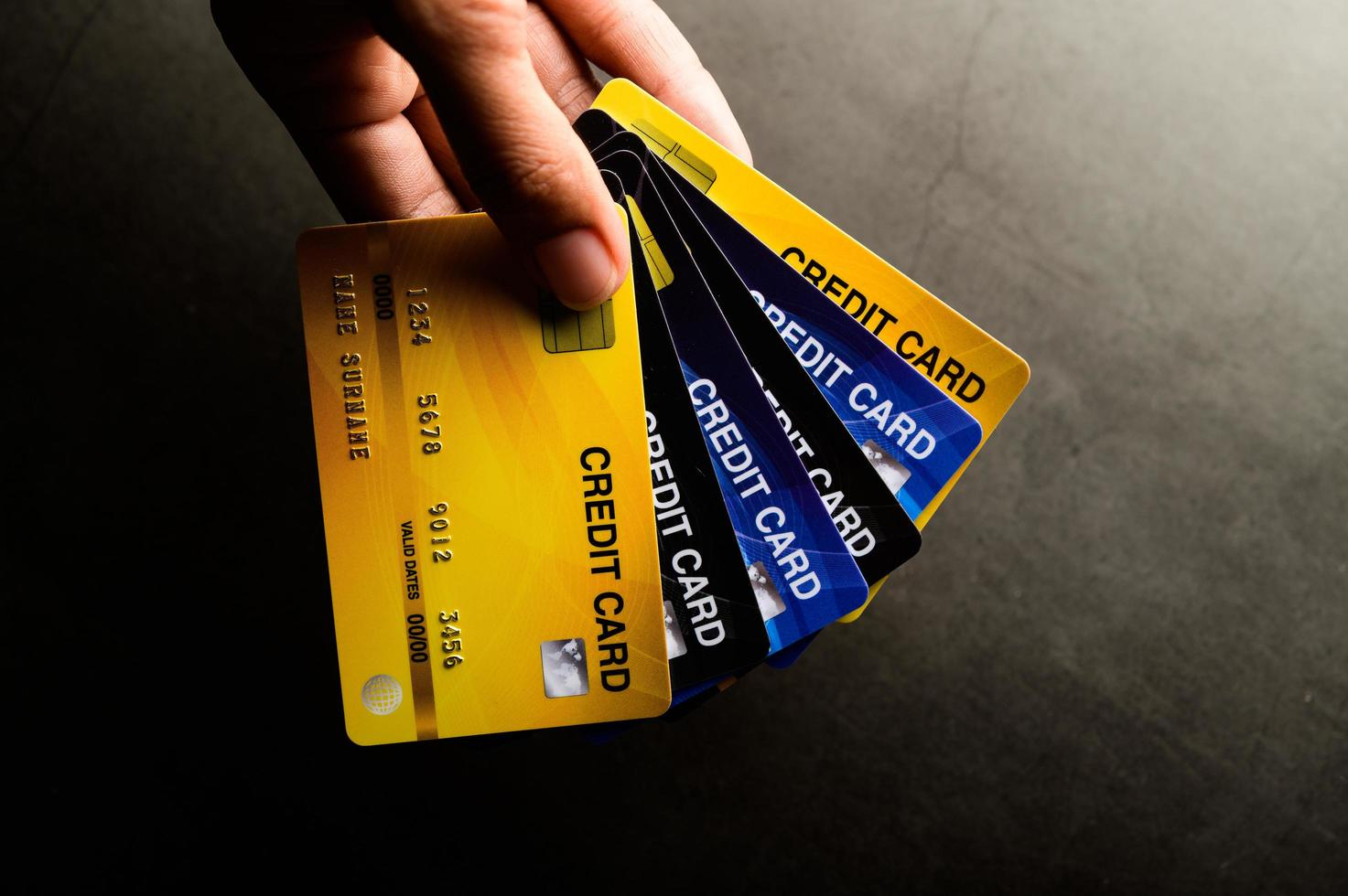 imagens em close de vários cartões de crédito foto