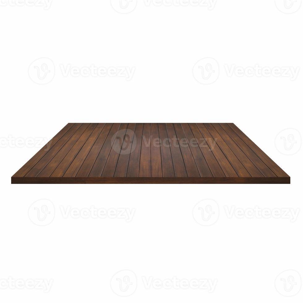 mesa de madeira vazia ou prateleira no fundo branco foto