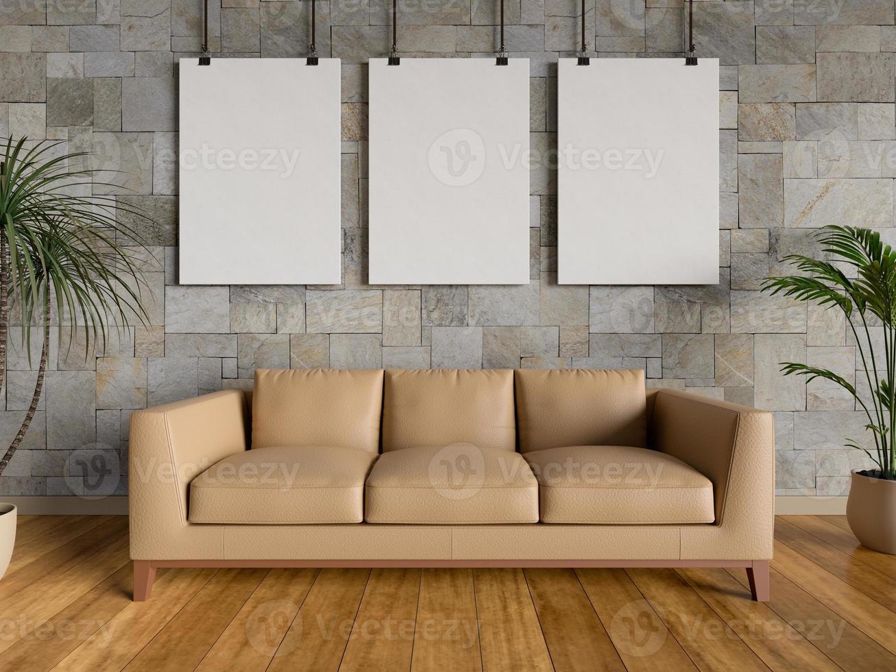 mock up pôsteres na sala de estar, renderização em 3D foto