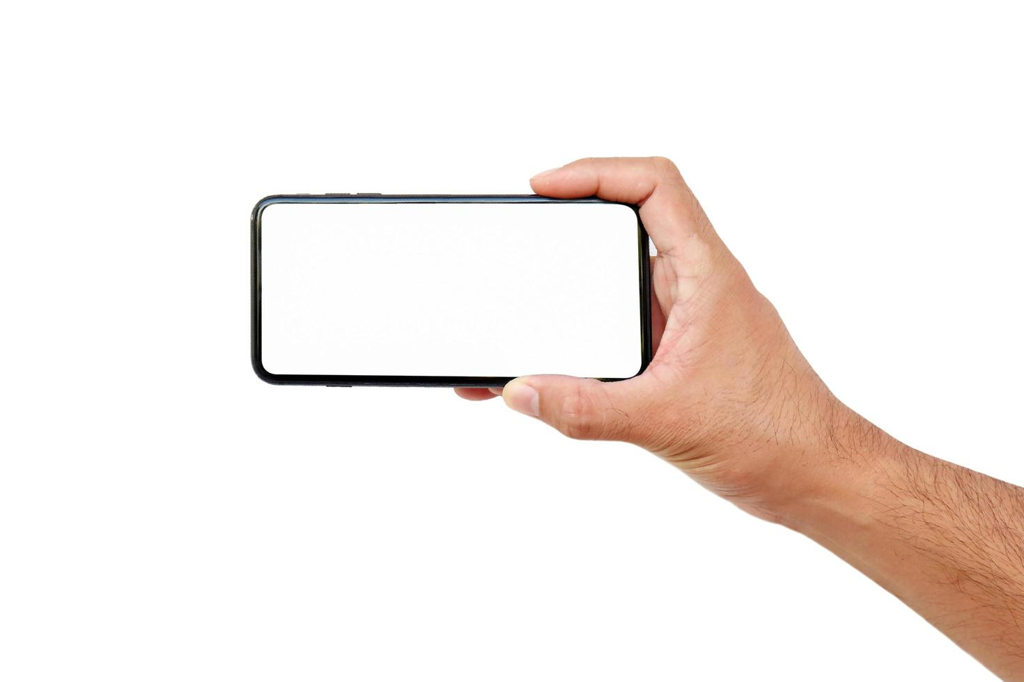 mão do homem segurando uma tela branca de telefone celular isolada no fundo branco com traçado de recorte foto