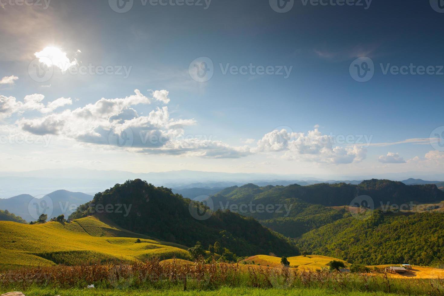 montanhas verdes e céu azul foto
