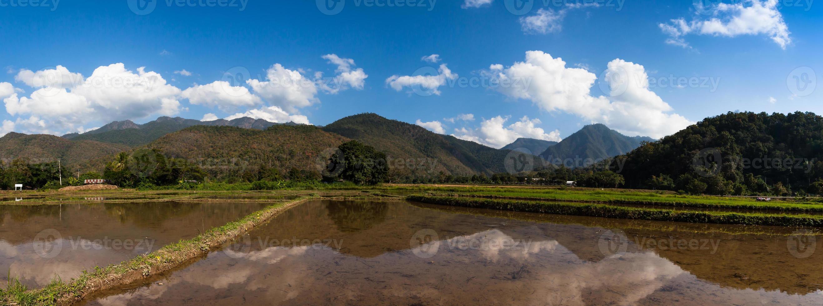 montanhas e céu refletidos na água foto