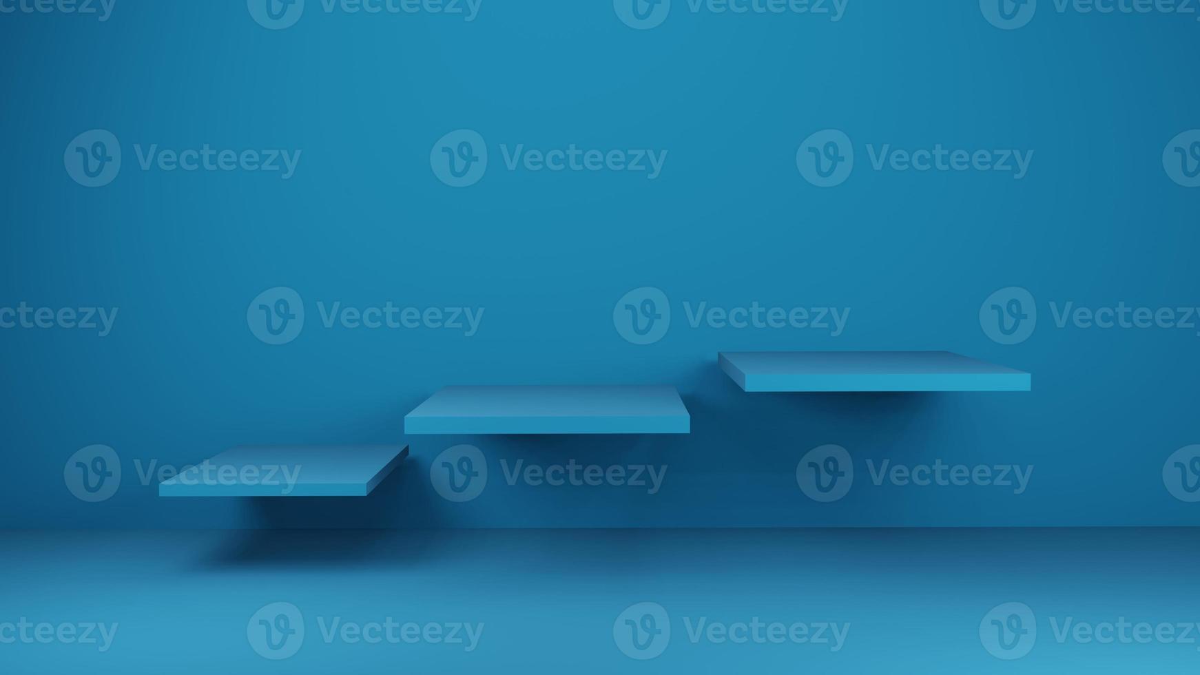 Renderização 3D de prateleiras azuis na parede azul foto
