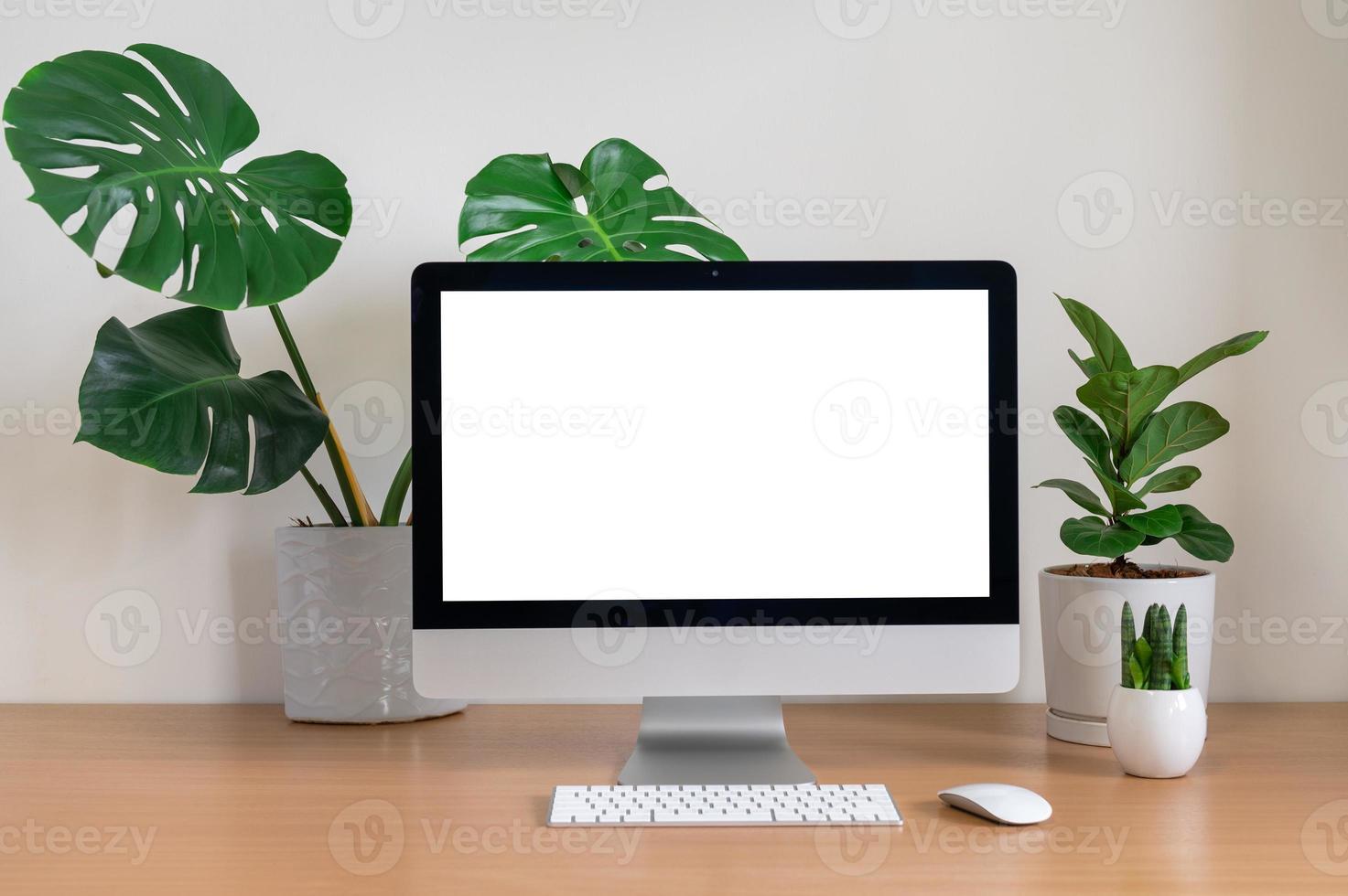 mesa com computador e plantas foto