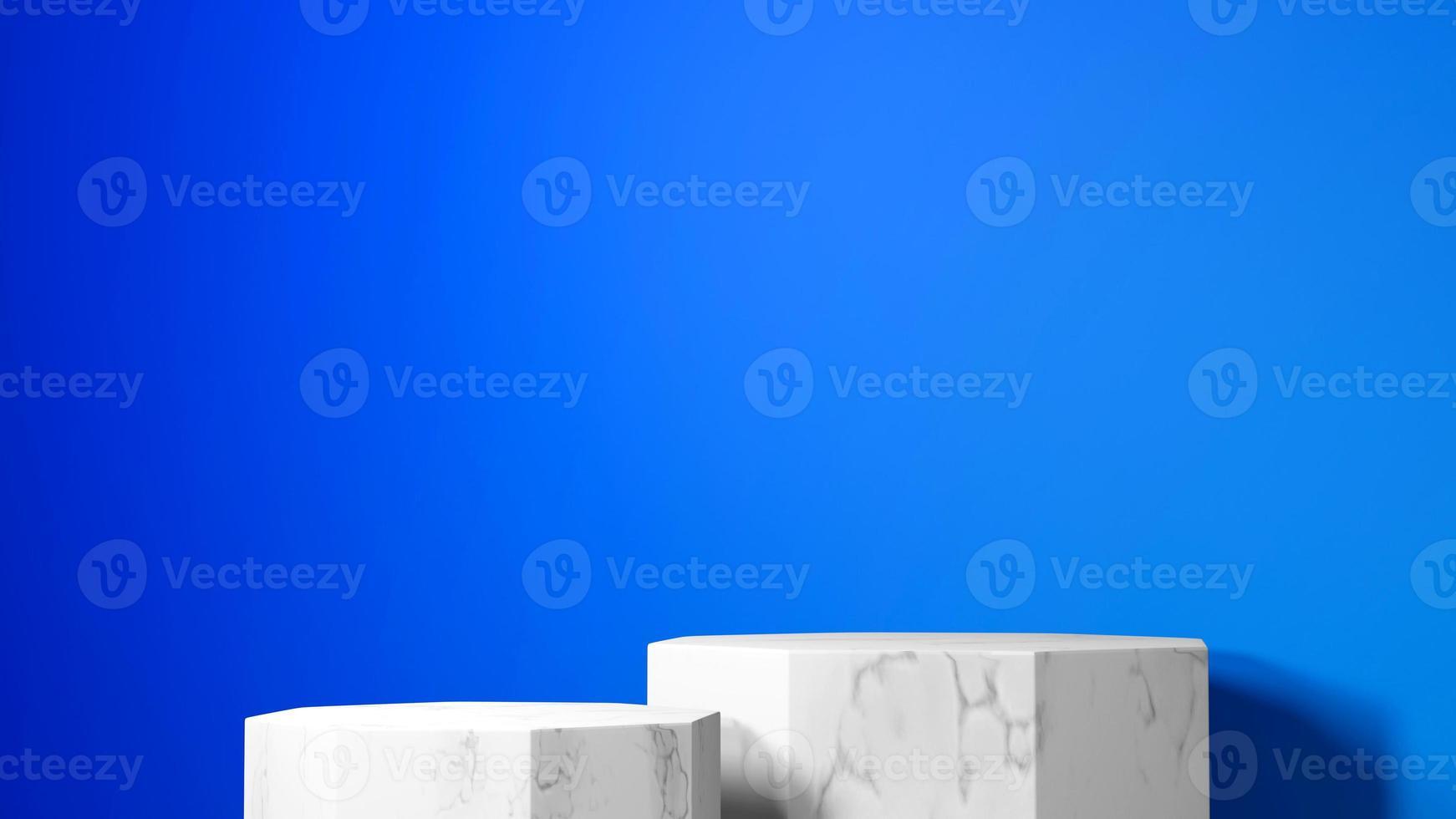 Renderização 3D de maquete de pódio octogonal de mármore premium sobre fundo azul foto