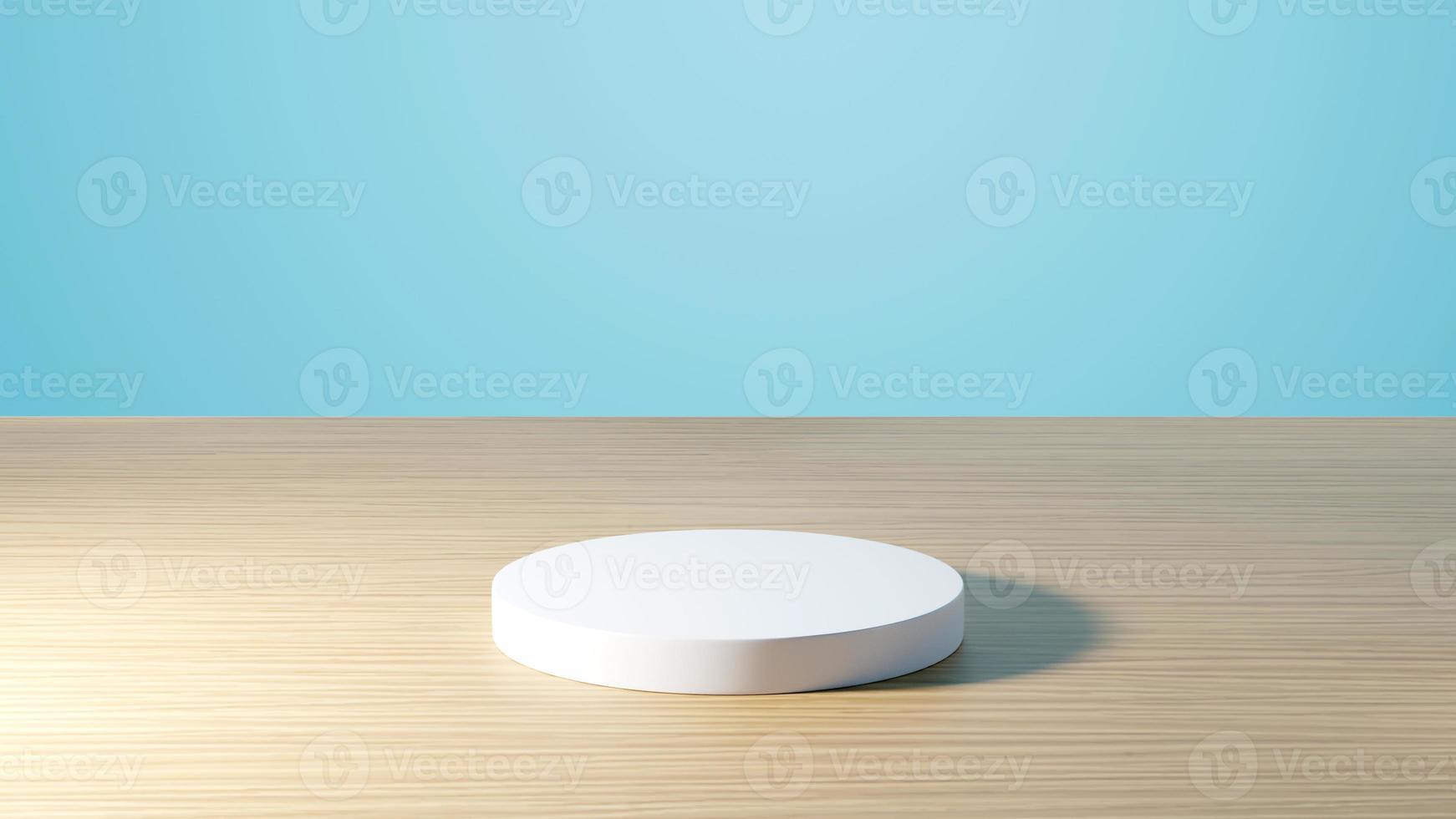 Renderização 3D de maquete de pódio branco premium na mesa com fundo azul claro foto