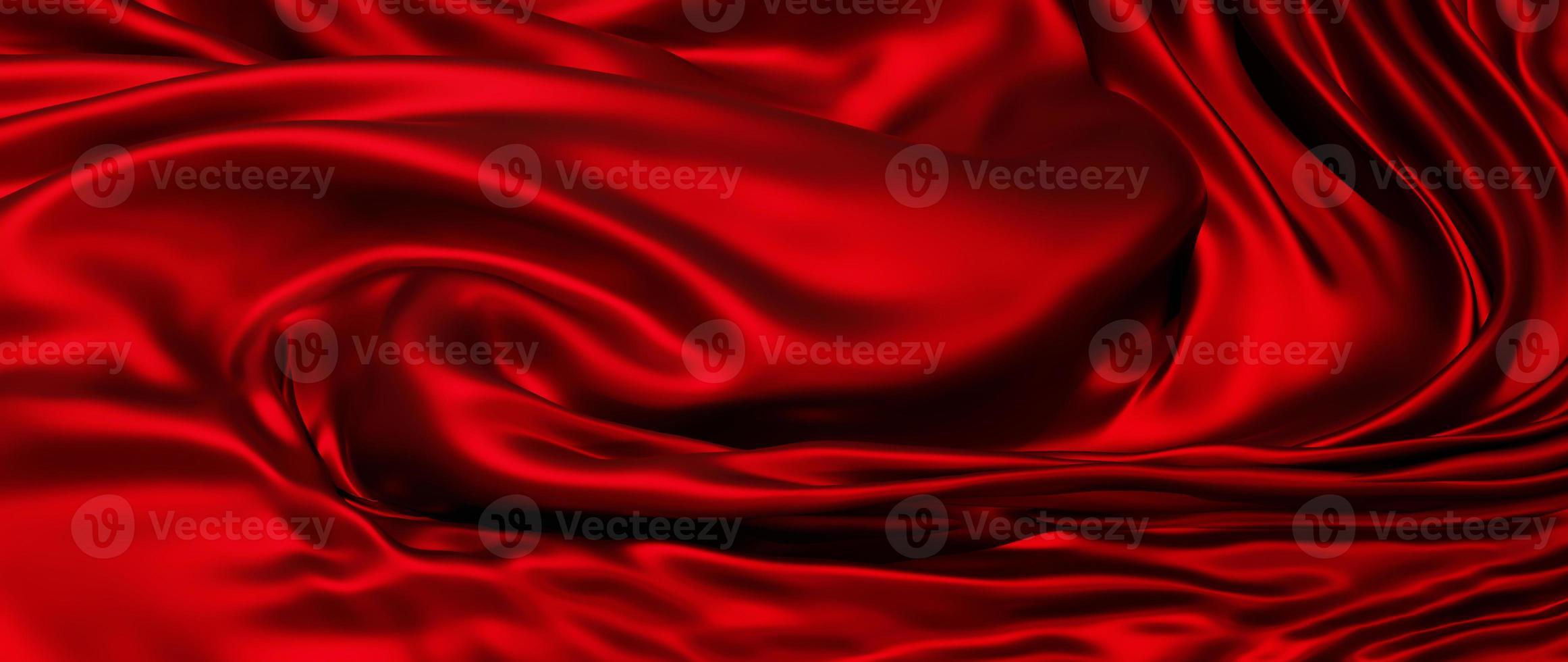 Renderização 3D de tecido vermelho, folha holográfica iridescente foto