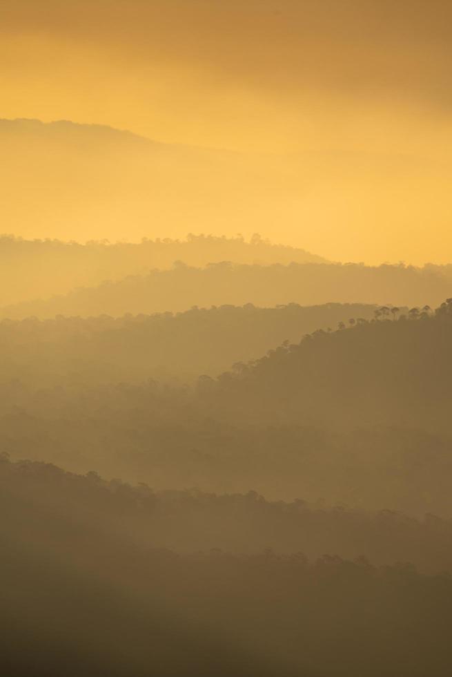 vista vertical do pôr do sol na montanha foto