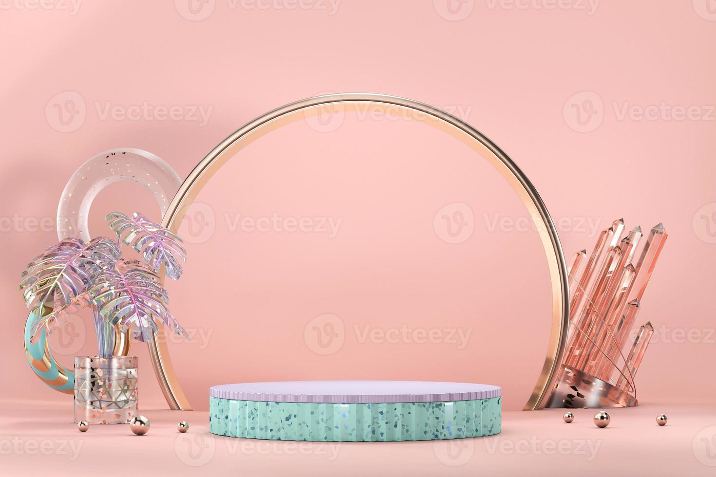 pódio para vitrine de exibição de produtos com vaso monstera e decoração de cristal, renderização em 3D foto