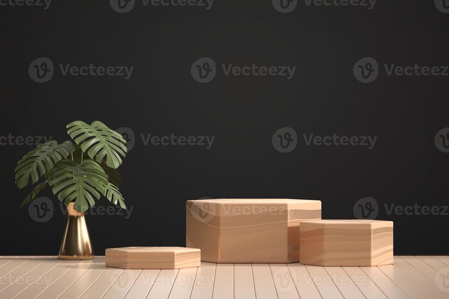 pódio de madeira para vitrine de exposição de produtos com decoração de vaso Monstera, renderização em 3D foto