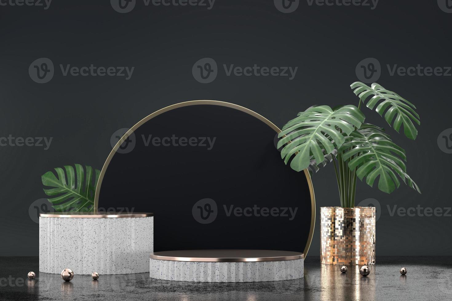 pódio branco para vitrine de exposição de produtos com decoração de vaso Monstera foto