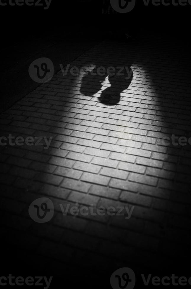 sombras da silhueta de um casal apaixonado em uma caminhada na cidade em um dia ensolarado. homem e mulher de mãos dadas e olhando um para o outro, cidade ao ar livre, foto preto e branco